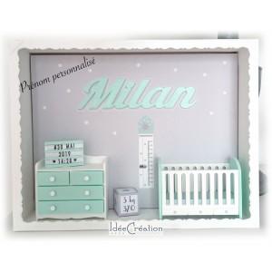 Cadre prénom bebe, Vitrine miniature personnalisée au prénom de l'enfant, modèle vert menthe, blanc et gris