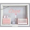 Cadre prénom bebe, Cadre naissance, Vitrine miniature personnalisée au prénom de l'enfant, modèle rose pale, blanc et gris