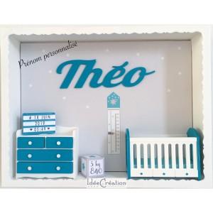 Cadre prénom bebe, Cadre naissance, Vitrine miniature personnalisée au prénom de l'enfant, modèle vert turquoise, blanc et gris
