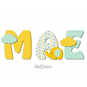 Lettres en bois, lettres prénom en Bois et tissu imprimé, prenom pour chambre de Fille motifs : vert menthe et jaune