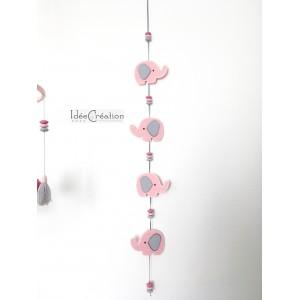 Guirlande Eléphants roses et gris pour chambre de bébé