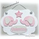 Cadre Prénom bébé personnalisable, déco Elephants Roses, cadre naissance prénom pour chambre d'enfant