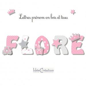 Lettres en bois Princesse, lettres prénom en bois et tissu imprimé personnalisable, modèle rose et gris, motifs Princesse
