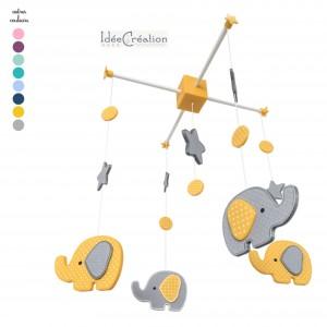 """Mobile Bébé """"Eléphants"""" modèle jaune et gris (divers coloris disponibles)"""