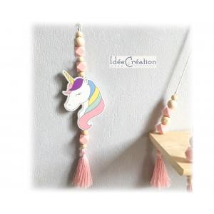 Suspension Licorne, Pampille Licorne à accrocher, objet déco thème Princesse & Licorne