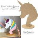 Licorne en bois brut à décorer, forme en bois (MDF) brut à décorer pour une déco de chambre de princesse