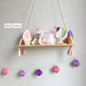 Guirlande Origami, coloris rose, mauve et violet à suspendre
