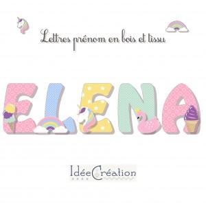 Lettres en bois Licorne, lettres prénom en bois et tissu imprimé personnalisable, motifs Licorne