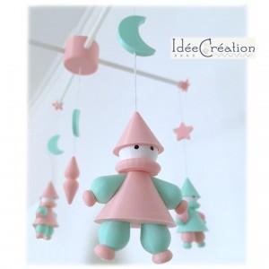"""Mobile Bébé """"Lutins"""" modèle rose et vert menthe (divers coloris disponibles)"""