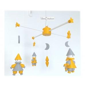"""Mobile Bébé """"Lutins"""" modèle jaune et gris (divers coloris disponibles)"""