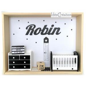 Cadre prénom bebe, Cadre naissance, Vitrine miniature personnalisée au prénom de l'enfant, modèle noir et blanc