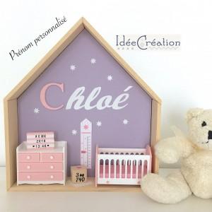 Cadre prénom, Cadre naissance au prénom de l'enfant, Cadre Maison, Etagère Nichoir, modèle rose et blanc