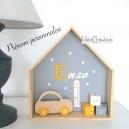 Cadre prénom, Cadre naissance au prénom de l'enfant, Cadre Maison, Etagère Nichoir, modèle jaune, gris et blanc