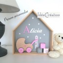 Cadre prénom, Cadre naissance au prénom de l'enfant, Cadre Maison, Etagère Nichoir, modèle rose, gris et blanc
