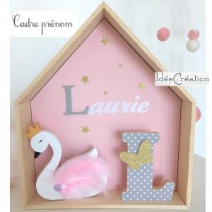 Cadre personnalisé au prénom de l'enfant, Cadre étagère maison pour chambre de Princesse, modèle rose, or, gris et blanc
