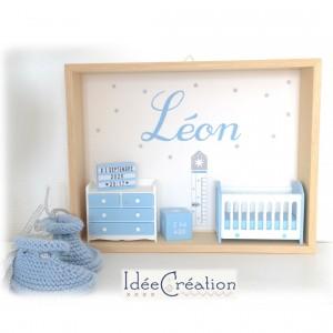 Cadre prénom bebe, Cadre naissance, Vitrine miniature personnalisée au prénom de l'enfant, modèle bleu ciel et blanc
