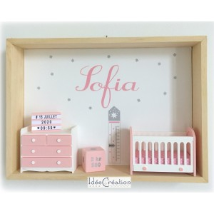 Cadre prénom bebe, Cadre naissance, Vitrine miniature personnalisée au prénom de l'enfant, modèle rose, gris et blanc