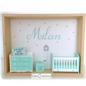 Cadre prénom bebe, Cadre naissance, Vitrine miniature personnalisée au prénom de l'enfant, modèle vert menthe, gris et blanc