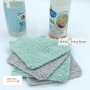 Lingettes Bébé lavables et réutilisables ultra douces, toucher velours éponge OEKO TEX, lot de 4, modèle vert menthe et gris