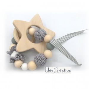 Hochet, anneau de dentition en bois et coton, modèle gris et blanc