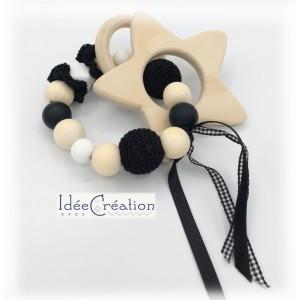 Hochet, anneau de dentition en bois et coton, modèle noir et blanc